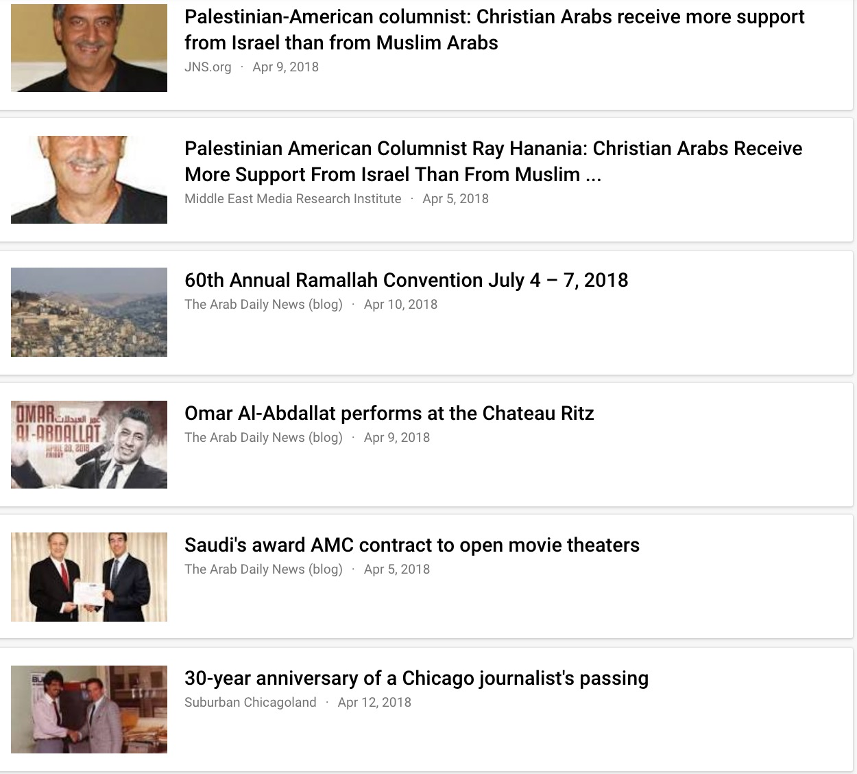 Screen shot of Google News placement of stories Ray Hanania has written, showing how articles written by pro-Israel sources are given higher and longer placement on Google News searches while the original articles written by Arabs and Palestinians are played down in search results. This is the top portion of the page.