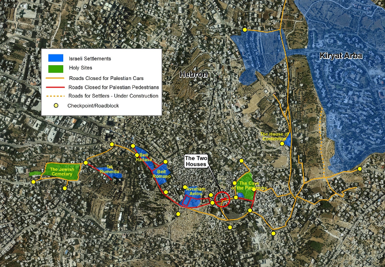 Map of Hebron showing location of Palestinian home being taken by Israeli settlers in Israeli occupied Hebron. Photo courtesy of Peace Now