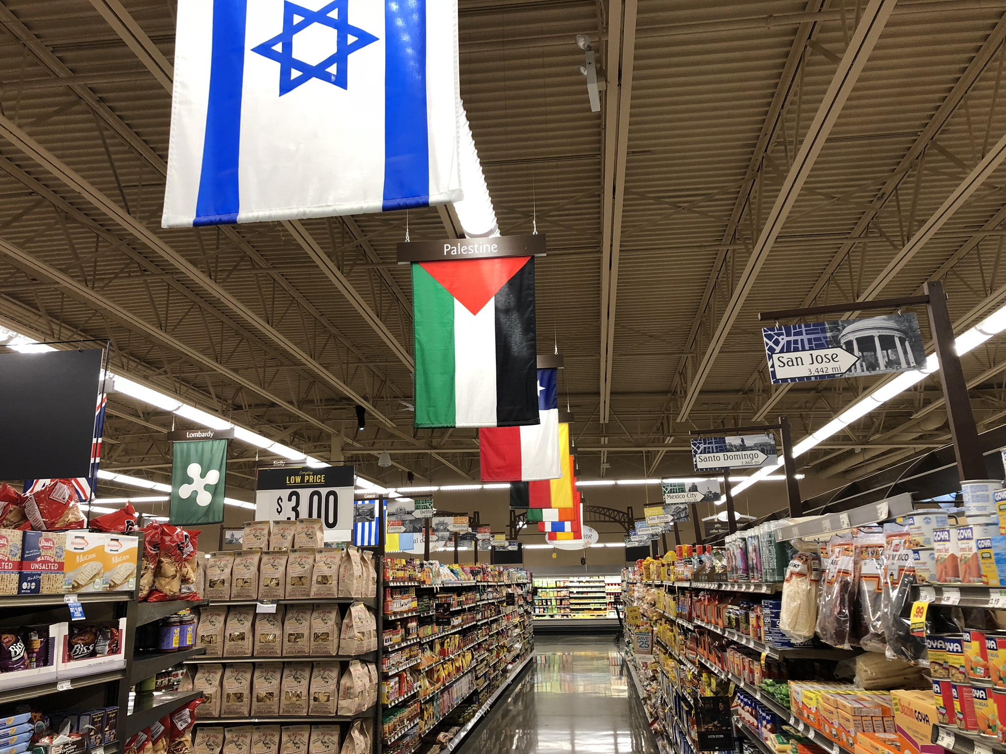 Mariano's, which opened in January 2016, flies the Palestine Flag over its ethnic food section. Photo courtesy of Ray Hanania
